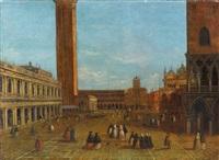 der markusplatz mit figuren in venedig by italian school-venetian (19)