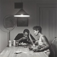 the kitchen table series: untitled (eating lobster) by carrie mae weems