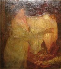 vrouw bij een lamp by josef karel frans posenaer