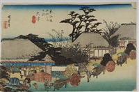 oban yoko-e, série de la grande tokaido, station 54, la maison de thé à otsu by ando hiroshige