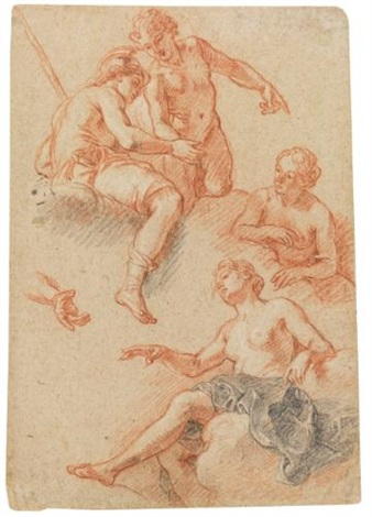 sheet of studies of four figures by charles de la fosse