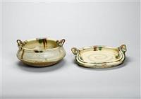 a sansai glaze platter by takeshi yasuda
