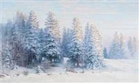 soleil levant par la neige à la lisière de la forêt de sapins by edouard jeanmaire