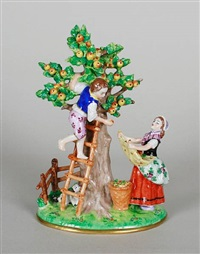 orchard group (after meissen) by sitzendorf alfred voigt