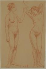 zwei stehende weibliche akte by ludwig von hofmann