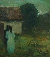 garden scene with white dressed woman facing dark figure by carl fischer