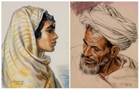 portrait d'une marocaine et portrait d'un marocain (2 works) by louis john endres
