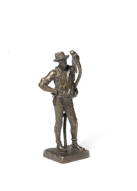 a bronze maquette of the mower by sir william hamo thornycroft