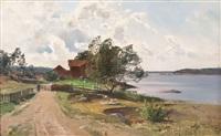 schwedischer bauernhof in sommerlicher flußlandschaft by alfred thörne