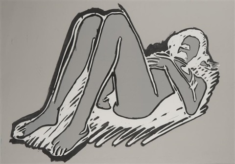monica reclining on her back knees up by tom wesselmann