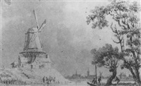 a windmill in a river landscape with a town in the distance by paul van liender