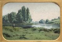 bord de rivière animé avec barques by jules louis badel