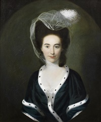 portrait of a lady, half-length, in a green dress and a fur-trimmed shawl, within a painted oval by nathaniel hone the elder