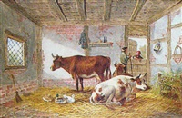 barn interior with cattle and figures conversing at doorway by albert dunington