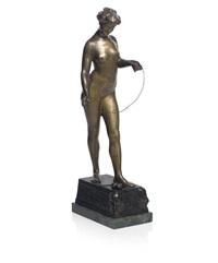 femme fatale, figure of a nude (for goldscheider) by jean verschneider