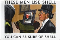 these men use shell, riders to hounds, you can be sure of shell (poster by jock kinneir) by posters: advertising - shell oil