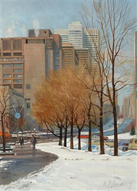 a sunny march day, a view of place bonaventure with the place ville marie by andris leimanis
