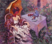 untitled (seated woman with umbrella) by vilany