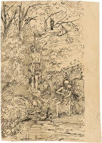 femme pendue et la mort jouant du violon by rodolphe bresdin