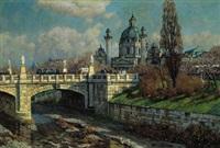 blick auf die karlskirche, im vordergrund die elisabethbrücke by eduard ameseder