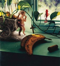 still life with cherubic figure, bananas, wine cork and mr. peanut figurine by scott prior