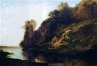 le coteau au bord de la rivière by louis-auguste auguin