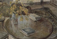still life of table, books and jonquils by jean appleton