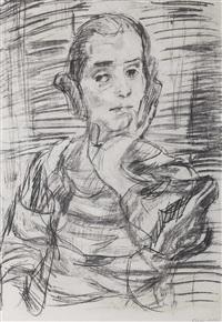 sitzporträt einer dame mit aufgestütztem arm by oskar kokoschka