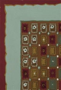 ensemble de neuf projets de tapis, cinq rectangulaires et quatre ronds (9 works) by paule leleu