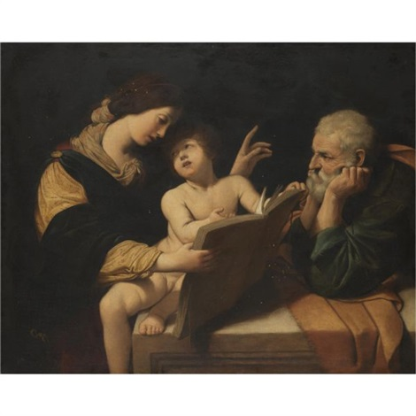 holy family with the madonna teaching the christ child to read by lionello spada