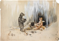 cherubic fox with bears by frederick m. spiegle