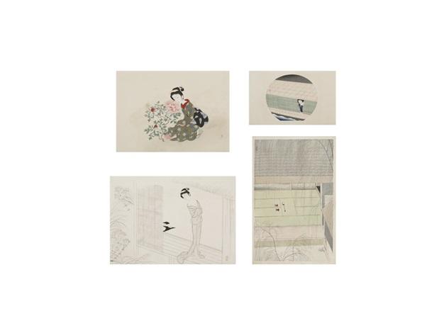 peony/osen/night rain/a green willow (4 works) by settai komura