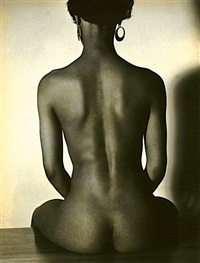 untitled - seated woman with back to camera (+ 2 others; set of 3) by manuel komroff