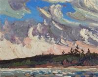 november sky, frog pond by arthur george lloy