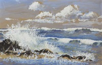 seascape with breaking waves and ship on the horizon by rowland hill