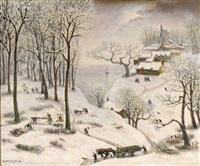 paysage de neige aux bûcherons by jean raffy le persan