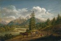 pferdegespann im berchtesgadener land by johann baptist isenring