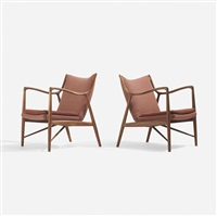 lounge chairs model nv-45, pair by finn juhl