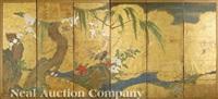 a pheasant among tree peonies screen by sesshu toyo