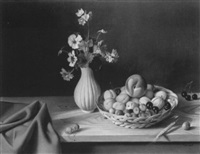 still life with fruit and flowers upon a table by fernand renard