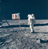 buzz aldrin salutes the us flag, apollo 11, july 1969 by neil armstrong