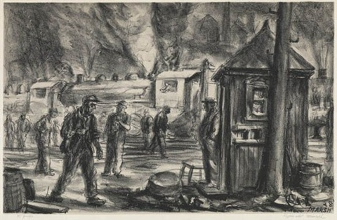 erie r r yards by reginald marsh