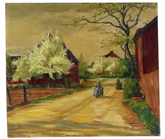 dorfstraße mit blühenden bäumen by theodore champion
