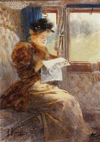 jeune élégante lisant dans un compartiment by felix alarcon