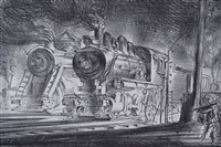 switch engines, erie yards by reginald marsh