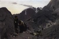 ein abgestürtzter bergsteiger wird von seiner frau und seinem kleinen sohn betrauert by wilhelm simmler