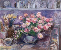 large pot of flowers in the studio by robert d. bottom