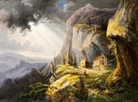 alpesi táj vándorral by joseph altenkopf