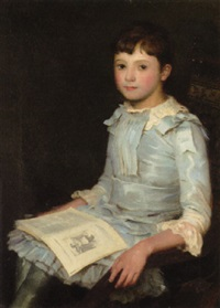 portrait of a girl reading by william m. pratt