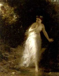 a nymph in the forest by erich correns